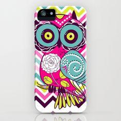 Chevron Retro Groovy Owl iPhone Case by Girly - $35.00