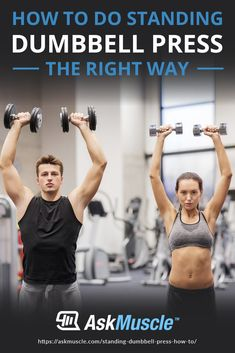 The standing dumbbell press is one of the best exercises for building huge shoulders as well as increasing core and total body strength. Learn how to do it right here. Basic Gym Workout, Dip Workout, Gym Workout Chart, Squat Workout, Toning Workouts, Exercises, Shoulder Flexibility, Gym Plans, Dumbbell Shoulder Press