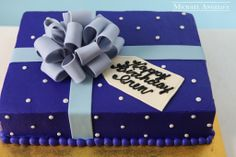 Blue with Dots Sheetcake #30Present by Michael Angelo's Bakery   Michael Angelo's Bakery