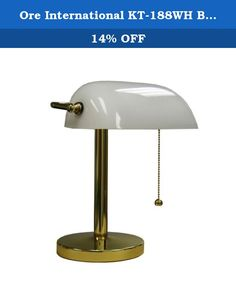 Ore International KT-188WH Bankers Lamp, 12.5-Inch Height, White. From classic to contemporary and expected to eclectic, Ore International's immense collection of household furnishings, lighting, and accessories offers exceptional value on upscale quality and style. The company's traditional desk lights and beautiful shelving options bring aesthetics and function to home or office, while a complete line of indoor/outdoor accents and accessories features everything from calming water...
