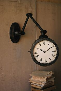 rotating double side wall clock outdoor garden station mounted with bracket hanging clock round chandelier and clocks