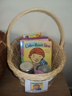 Calm down basket - Include positive books addressing anger/emotions, calm down jars, soft balls or sand filled balloons for squeezing, small notebook and crayons/pencils, etc.