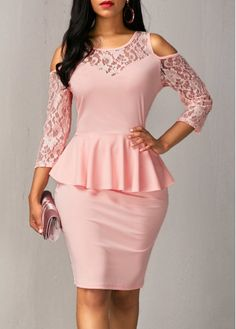 Shop for Pink Cold Shoulder Lace Patchwork Ruffled Dress at Beaded Creations Online. Dressy Dresses, Elegant Dresses, Short Dresses, Peplum Dresses, Club Outfits For Women, Clothes For Women, African Wear Dresses, Club Party Dresses, Types Of Dresses