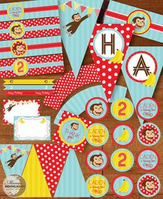 Curious George Birthday Party Printable Package by MamaMoonlights, $20.00