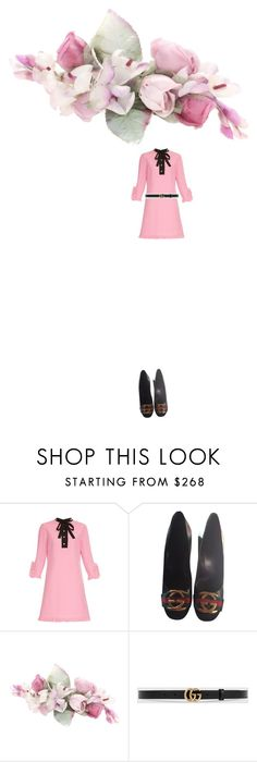 """""""bloom. Gucci and black and gold and pink dress heels and belt"""" by kohlanndesigns on Polyvore featuring Gucci"""