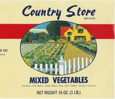Up for sale is a very nice vintage unused can label for Country Stora Mixed Vegetables, Distributed by Country Store Co. in East Gary, Indiana. The size is 10 1/4 x 4 , the colors are bright, it is in excellent condition, just a couple of slight bends at right edge, it is a great looking colorful label that would look good framed & on the wall in your kitchen, or put it on a can for display. If you have any questions, let me know. Thanks for looking, please see the other vintage labe...