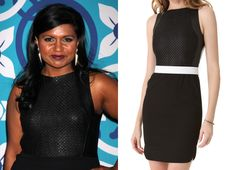 Earlier in the week Mindy Kaling wore this leather trim sheath dress to the Fox Fall Eco-Casino Party. L'Agence Chain Link Leather Bod...