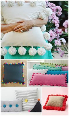 Here are 39 fantastic ideas, with tutorials, to recycle wool - DIY Pom pom pillows. Super cute for little girls room .: You are in the right place about home diy o - Diy Pillows, Decorative Pillows, Couch Pillows, Craft Projects, Sewing Projects, Pom Pom Crafts, Little Girl Rooms, Sewing Crafts, Diy And Crafts