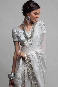 White Saree- don't love the blouse, but the saree is so pretty! :)