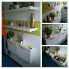 Ikea trones shoeboxes in small kitchen for storing bakeware and containers