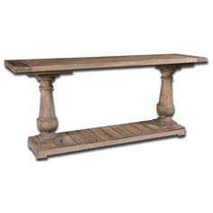 Lend a stately, yet rustic accent to your space with this substantial console table. Constructed of sun-faded salvaged lumbar in a distressed stony gray wash finish, this console table strikes a chunky, rectangular silhouette with hand-turned baluster column posts and bracket feet. One slatted plank lower shelf is great for stacking books or fanning out issues of your favorite magazines, while the routed plank tabletop provides a perfect platform for framed photos, potted plants, or a…