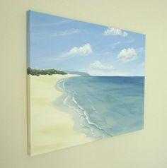 Original Ocean Painting, Calm Beach, Beach Art, Skyscape Fine Art, Blue Ocean Art, Peaceful Sea Painting, Acrylic 18 X 24