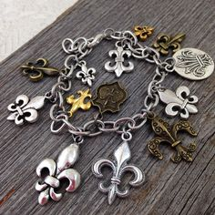 Fleur de Lis Charm Bracelet  Mixed Metal charms, adjustable chain made in the USA, by DuctTapeAndDenim, $22.00