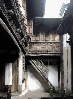 Ancient Chinese house interior courtyard by elayna
