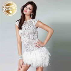 Lace and feathers short sexy wedding dress