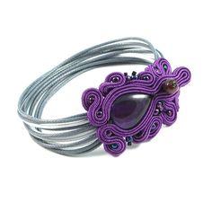 Soutache bracelet cuff purple jewelry - Delicate purple soutache bracelet