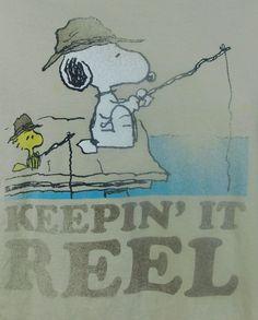 Peanuts Snoopy Woodstock Fishing Keeping It Reel Distressed T-shirt Large Beige #Peanuts #GraphicTee