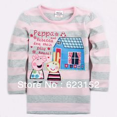 Aliexpress.com : Buy FREE SHIPPINGA F4125 Pink Peppa Pig and House Long Sleeve Tunic for Girls 18M 6Y 5pcs/lot Export Quality Fast Delivery