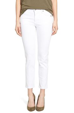 KUT from the Kloth 'Reese' Stretch Ankle Jeans (White) available at #Nordstrom looking for well fitting white jeans for spring and on cruises.
