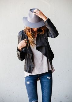 street style / casual leather + denim