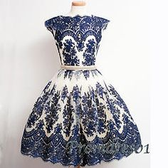 #promdress01 prom dresses - cute dark blue lace round neck cap sleeve vintage short prom dress for teens, ball gown, 1950s style #coniefox #2016prom