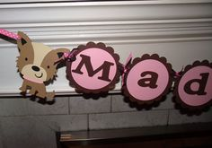 Name Banner  up to 8 letters puppy dog dog by CreativePartyBanners, $24.00