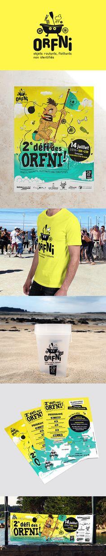 Deuxième défi des ORFNI. La folle traversée d'objets roulants, flottants non identifiés, de Landrellec à l'Île-Grande. Pour cette nouvelle édition, une plus grande visibilité à été donnée à l'événement, avec la création d'un logo et de nombreux supports de communication : affiche, banderole, tee-shirt... #affiche / #événement / #orfni / #bretagne