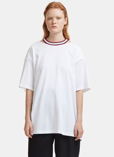 Facetasm Oversized Open Back Ribbon Tied T-shirt In White Tied T Shirt, Velvet Ribbon, Tees, Shirts, Crew Neck, Women Wear, Tunic Tops, Cotton, Designer Clothing