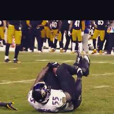 T. Suggs with his fumble recovery between his knees against the steelers