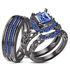 1.09CT Princess Cut Blue Sapphire 14K Black Gold Finish 925 Silver Trio Ring Set #aonedesigns