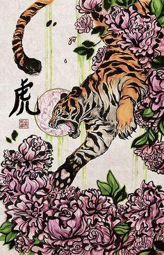 'Tiger' Canvas Print by kiriska Kunst Inspo, Art Inspo, Art And Illustration, Dope Kunst, Tiger Poster, Kunst Tattoos, Dope Art, Aesthetic Art, Japanese Art
