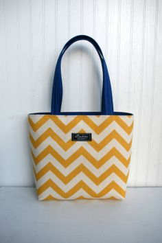 MaryBeth Bag Tote in Yellow Chevron by ElisaLou on Etsy, $55.00