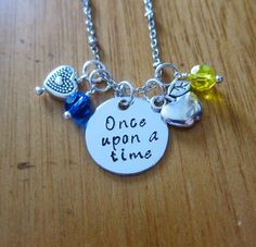 "Princess Snow White Inspired Necklace. ""Once Upon A Time"". Silver colored, Hand Stamped, Swarovski crystals. FREE shipping"