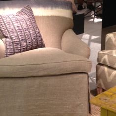 Ombre was everywhere - on upholstery, like this comfy chair, lamp shades, curtains, ribbon, clothing - everything!  hot trends - ombre chair