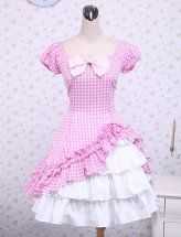Sweet Pink Checked Bow Cap Sleeves Cotton Lolita Dress