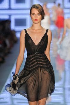 black cocktail dress.  Model: Monika 'Jac' Jagaciak | Christian Dior Spring 2012 #Monika Jagaciak #Christian Dior