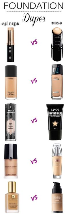 Save: 10 Amazing Drugstore Dupes For High-End Foundations - Sweet Libertine Mineral Cosmetics - - Splurge vs. Save: 10 Amazing Drugstore Dupes For High-End Foundations - Sweet Libertine Mineral Cosmetics Beauty Make-up, Beauty Dupes, Beauty Hacks, Hair Beauty, Beauty Advice, Beste Foundation, Best Drugstore Foundation, Makeup Foundation, Good Cheap Foundation