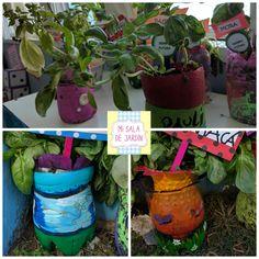 Macetas ecológicas con botellas de plástico en Mi Sala de Jardín Planter Pots, Mary, Design, Photo Editor, Preschool, Gardens