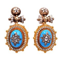 Victorian Diamond Enamel Gold Earrings