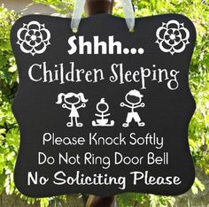 Children Sleeping Sign - No Soliciting - Great Home Decor For Families or Daycare!