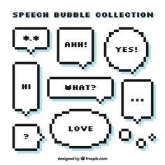 Set of pixelated speech bubbles with messages Free Vector