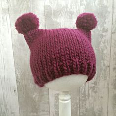 Baby Pom Pom Hat Pink, Dark Pink Animal Ear Hat, Kids Animal Hats with Ears…
