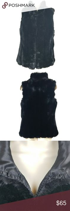 """White House Black Market Faux Fur Vest This gorgeous women's size small White House Black Market vest is so soft and luxurious you'll never want to take it off! The faux fur is made of a modacrylic blend and the lining is 100% polyester. It can be worn open at the front or closed completely using the hook and eye closures. It is in excellent preowned condition and appears barely worn, if worn at all!  Measurements are front only and done laying flat. Shoulder width: 14"""" Bust: 19"""" Length: 25""""…"""