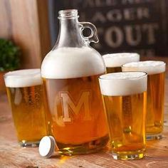 Give the gift of serving in style with this personalized beer growler and pint glass set.