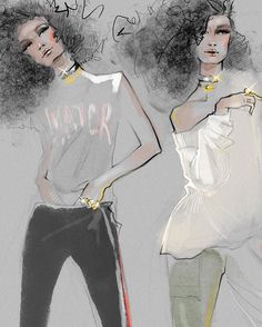 Illustration by Julija Lubgane New fashion illustration is here this time it is the super cool collection by spring 2017 Nail Design, Nail Art, Nail Salon, Irvine, Newport Beach Illustration Mode, Fashion Illustration Sketches, Fashion Sketchbook, Fashion Sketches, Arte Fashion, Moda Fashion, New Fashion, Fashion Design, Woman Drawing
