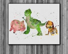 Rex, Slinky Dog, Hamm Poster, Toy Story disney - Art Print, instant download, Watercolor Print, poster