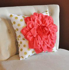Pillows, Pillow, Decorative Pillows, Throw Pillow, Coral Pillows, Cushions, Gold Polka Dot Pillow, Shower Gift, CHOOSE YOUR OWN Colors