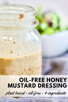 Just 4 ingredients, this oil-free salad dressing transforms your greens or pasta salad from dull to delicious. Shake everything up in a mason jar and you're done in under 4 minutes! Fat Free Salad Dressing Recipe, Oil Free Salad Dressing, Salad Dressing Recipes, Honey Mustard Salad Dressing, Honey Mustard Vinaigrette, Fat Free Recipes, Fat Free Vegan, Vegan Sauces, Healthy Sauces