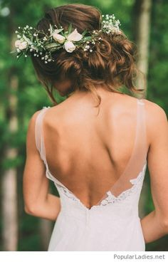 White dress backlace and flowers in hair