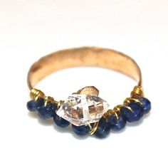 Sapphire Ring Herkimer Diamond Ring Herkimer Quartz by FizzCandy, $65.00